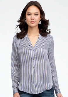 bebe Stripe & Distressed Link Button Up Blouse