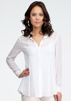bebe Open Pleat Button Up Tunic