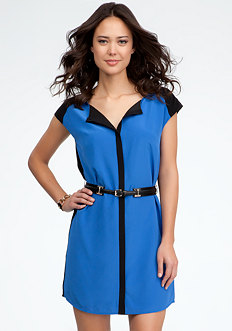 bebe Silk Colorblock Belted Shirt Dress