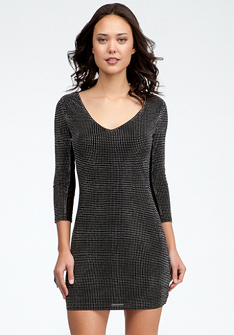 bebe V-Neck Studded Dress