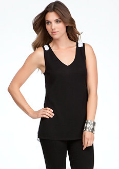 bebe Chiffon Back Sweater Tank