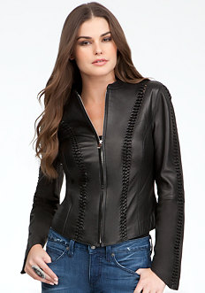 bebe Braided Leather Jacket
