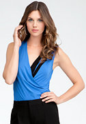 bebe Sleeveless Asymmetric Bodysuit