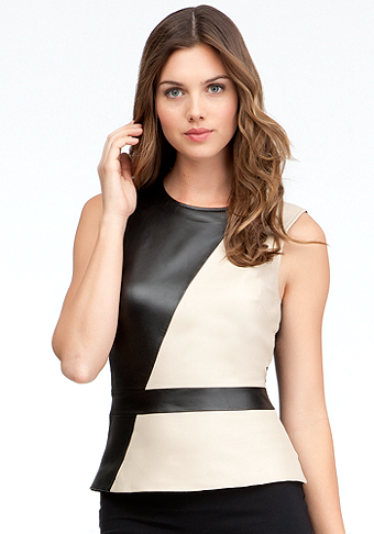 bebe Colorblock Leather Peplum Tank