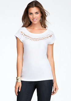 Knotted Neckline Tee at bebe