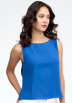 bebe Layered Open Back Chiffon Tank