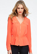 bebe Safari Pocket Zip Peplum Top