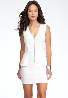bebe Linen Zipper Peplum Dress