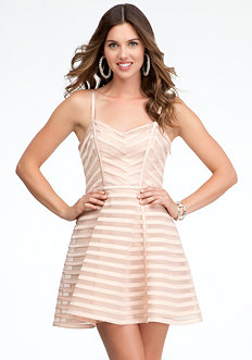 bebe Striped Binded Fit & Flare Dress