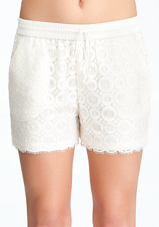 Lace Overlay Soft Shorts at bebe