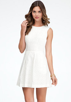 bebe Embroidered Eyelet A-Line Dress