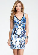 bebe Luxury Vines Printed Peplum Dress