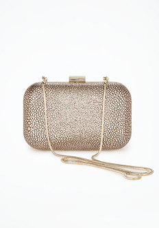 bebe Pebbled Metallic Minaudiere