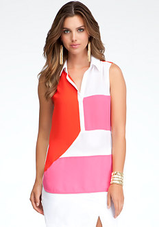 bebe Colorblock Sleeveless Tunic
