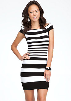 bebe Off-Shoulder Stripe Sweater Dress
