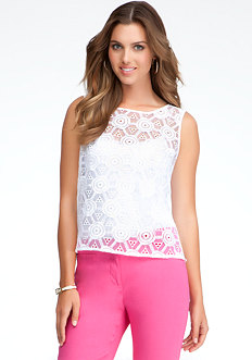 bebe Slit Back Embroidered Top