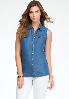 bebe Sleeveless Denim Shirt