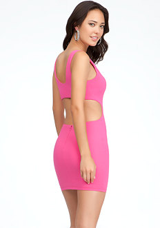 bebe Cutout V-Neck Bodycon Dress