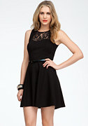 Belted Lace Fit & Flare Dress - ONLINE EXCLUSIVE at bebe