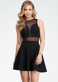 bebe Geometric Mesh Fit & Flare Dress - ONLINE EXCLUSIVE