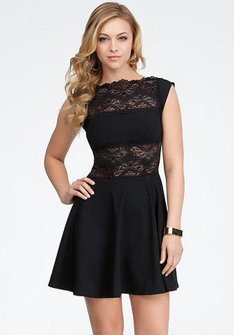 bebe Lace Panel Midriff Fit & Flare Dress - ONLINE EXCLUSIVE