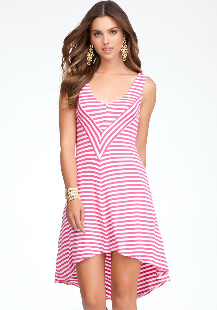 Contrast Stripe High Low Dress
