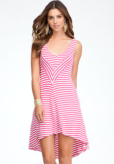 bebe Contrast Stripe High Low Dress
