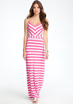 bebe Striped Back Cutout Maxi Dress