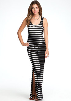 bebe Ribbed Drawstring Racerback Dress