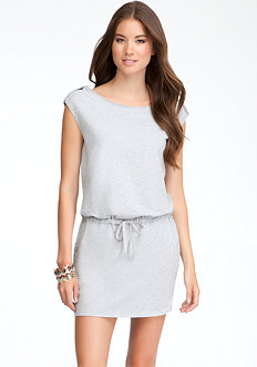 bebe Logo Snap Shoulder Tunic Dress - ONLINE EXCLUSIVE