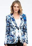 bebe Floral Print Patch Pocket Blazer