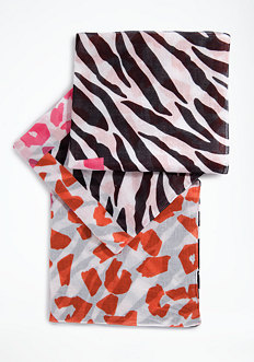 bebe Blocked Animal Print Scarf