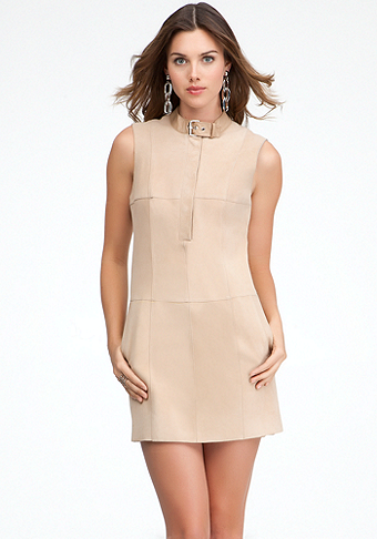bebe Belt Collar Suede Shift Dress