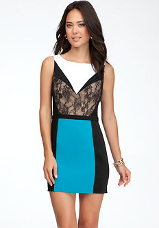 bebe Colorblock Lace Panel Dress