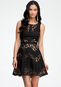 bebe Lace & Contrast Zigzag Dress