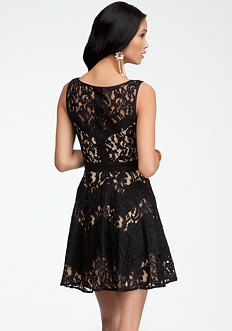bebe Lace & Contrast Zigzag Dress