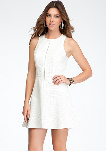 bebe Perforated Leather Fit & Flare Dress