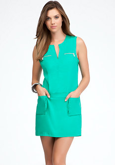 bebe Sleeveless Cargo Pocket Dress