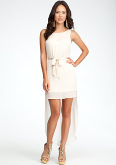 bebe Sheer Tail Sleeveless Dress
