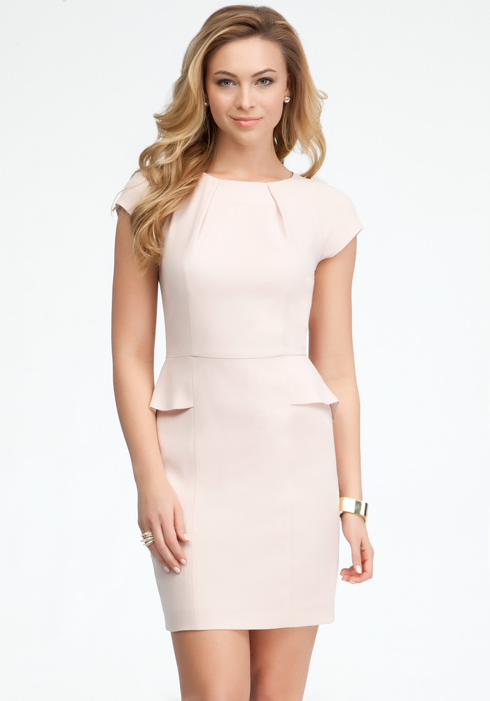 Rose Dust Peplum Dress From Bebe