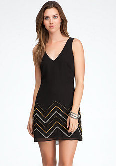 bebe Cutout Back Beaded Dress