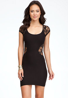bebe Contour Lace Inset Dress