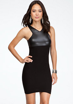 Leatherette Bodycon Dress - ONLINE EXCLUSIVE at bebe