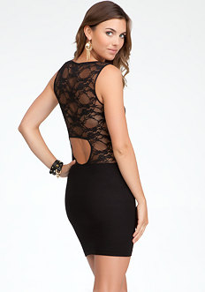 bebe Back Cutout Lace Dress