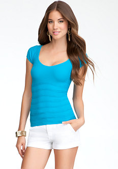 Wave Texture Short Sleeve Tee - ONLINE EXCLUSIVE at bebe