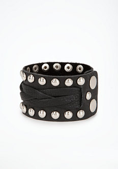 bebe Stud & Leather Cuff
