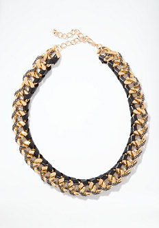 bebe Leather Wrapped Chainlink Necklace