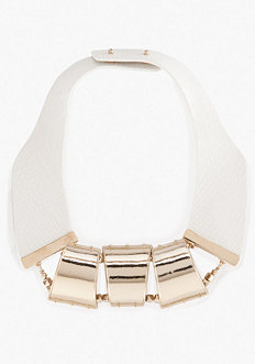 bebe Faux Leather & Metal Necklace