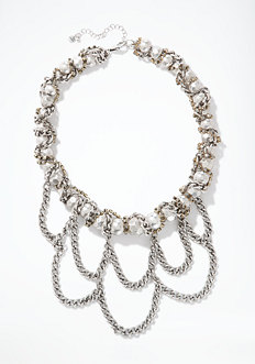 bebe Woven & Draped Chainlink Necklace