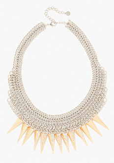 bebe Mesh & Spike Statement Necklace